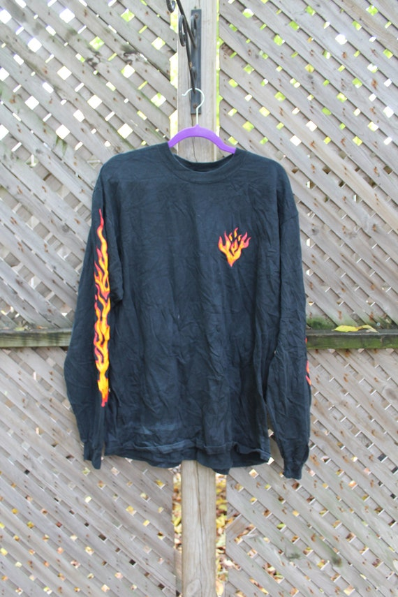 Vintage T-Shirt / Flames / Fire Graphic / Anvil T-