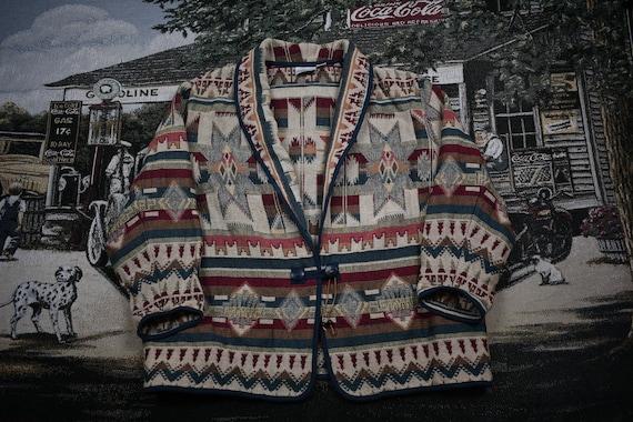 Vintage Blazer / 90s Crewneck / Southwest Aztec Pa
