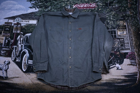 Vintage Button Up Shirt / Carhartt / Embroidered B