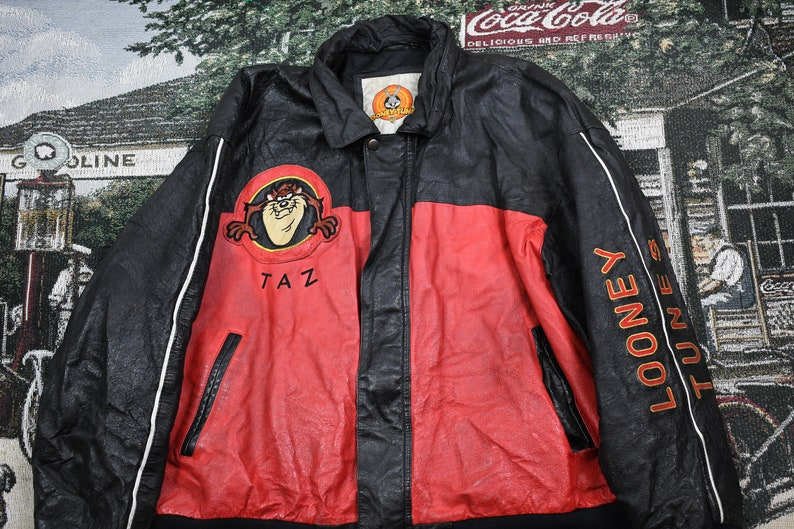 Vintage Looney Tunes Leather Bomber  Winter Outerwear  Streetwear Fashion  Embroidered  Tasmanian Devil  Cartoon Graphic  TV Promo