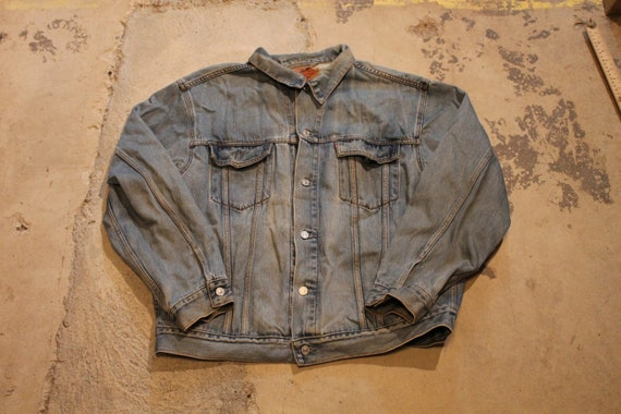 XS extra small 90s jean jacket classic 1990s clothing clothes spring fashion outerwear, vintage women/'s denim coat button up collared