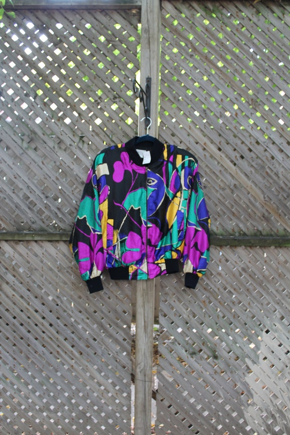 Picasso Jacket / Vintage Bomber Coat / Abstract Ar