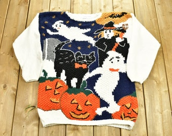 Vintage 1990's Halloween Graphic Knitted Sweater / Vintage 90s Crewneck / Halloween Pattern Sweater / Outdoor / Hand Knit / Spooky Sweater