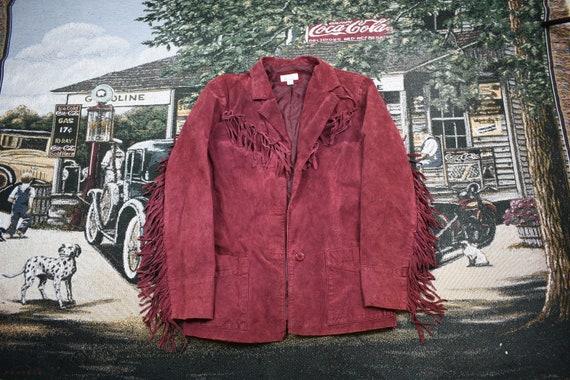 Vintage Fringe Jacket/ Leather Suede Jacket / Fall