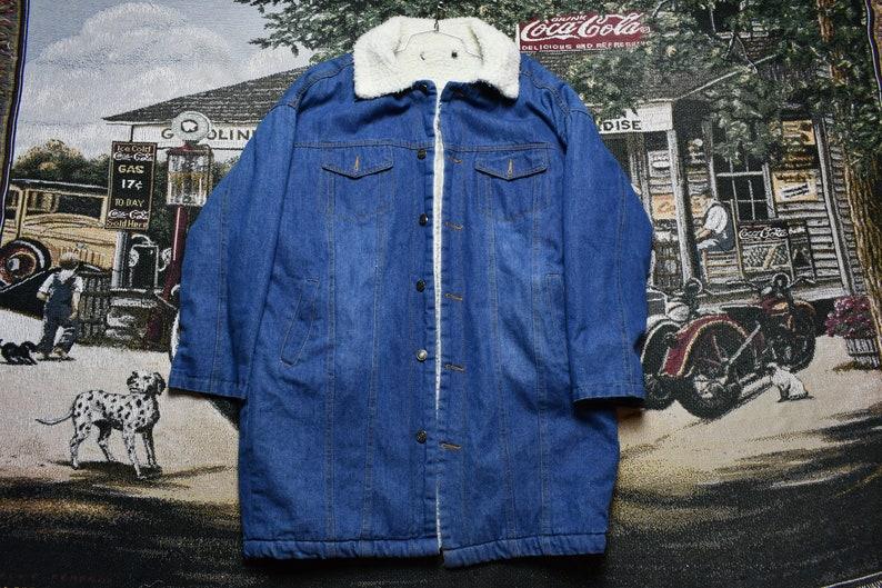Vintage Denim Sherpa Lined Overcoat Jacket  Formal Dress Winter Wear  Workwear  Streetwear