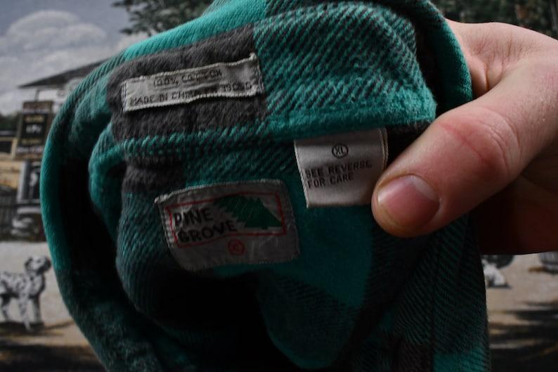 Vintage Pine Grove Button Up Shirt  Plaid Pattern Print  Outdoors /& Wilderness  Fall Winter  Casual Wear  Workwear  Streetwear