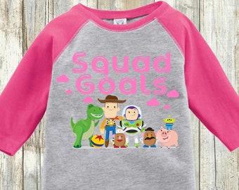 1d85f3fa Kid's Girls/ Boys Toy Story Shirt   Pink Squad Goals   Youth Toddler Raglan    Youth & Toddler Regular Tee