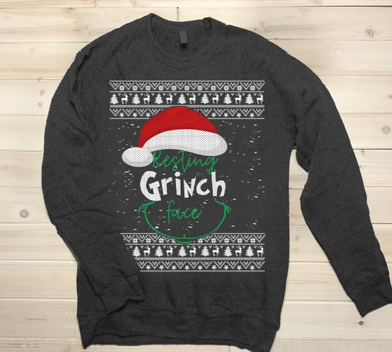 Grinch Christmas Sweater.Resting Grinch Face Christmas Sweater Ugly Sweater Christmas Party Crewneck