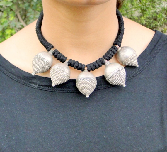 Ethnic Tribal Old silver Spike Pendant Necklace ch