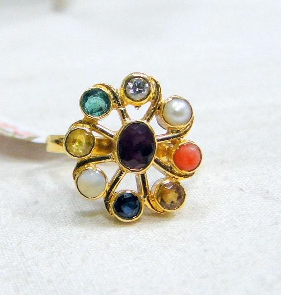 Gold Navratna Gemstone ring 18K Gold Gemstone jewe