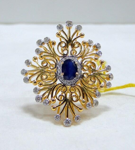 Gold Sapphire ring, Gold Diamond ring, designer co