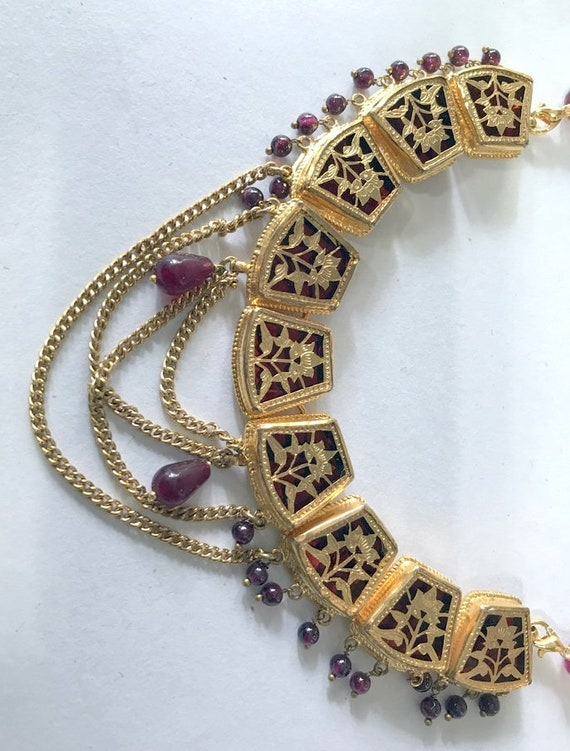 vintage gold silver theva thewa work necklace pen… - image 2