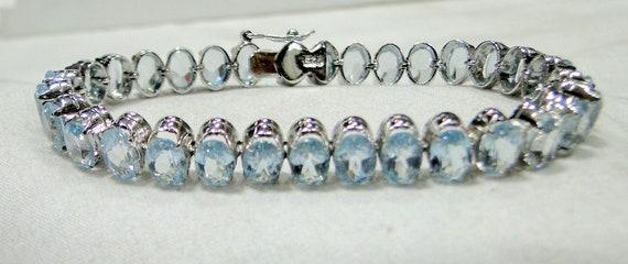 sterling silver Aquamarine gemstone bracelet