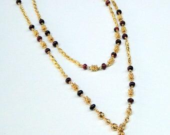 22K Gold & Ruby Gemstone Beads strand Necklace