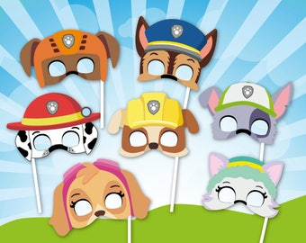 Paw Patrol Inspired Masks, Paw Party Photo Booth Props Printable Paw Masks,  Pup Patrol Birthday Photo Props, Pup Patrol