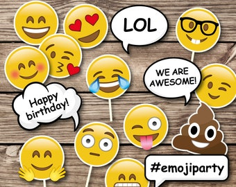 Emoji Birthday Party Props Photo Booth Teen Printables Decorations Mask