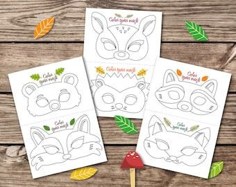 Coloring Masks Animal Kid Party Mask Woodland Pages Fox Preschool Printable