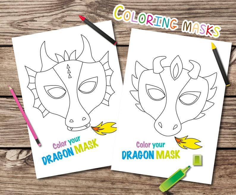 Kleurplaten En Maskers.Dragon Kleuren Maskers Afdrukbare Draak Maskers Kleurplaat Maskers Kids Partijactiviteit Afdrukbare Draak Masker Bedrukbaar Masker Kleuren