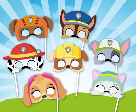 Paw Patrol Inspired Masks Paw Party Photo Booth Props Printable Paw Masks Pup Patrol Birthday Photo Props Pup Patrol