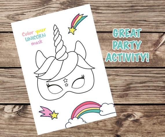 Unicorn Partij Masker Unicorn Masker Unicorn Kleurplaat Etsy