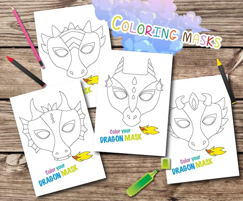 Draak Kleurplaten Zoeken.Dragon Kleurplaten Maskers Afdrukbare Dragon Maskers Kleuren Etsy
