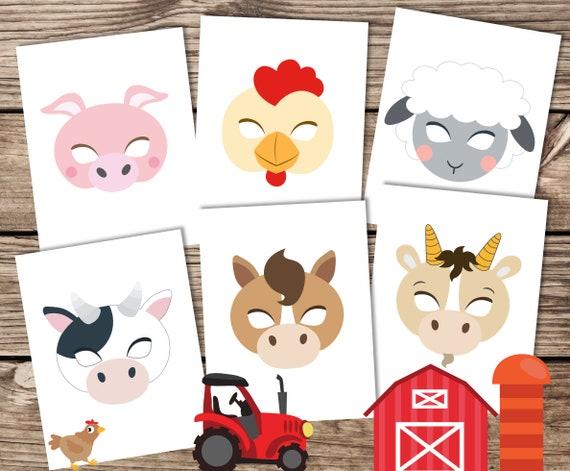 Farm animal masks printable farm masks farm photo booth