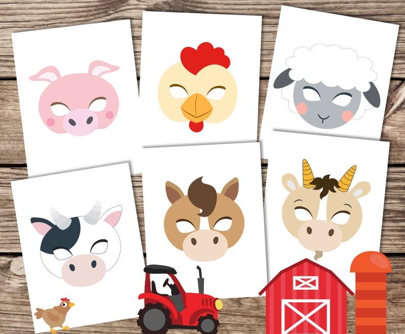 Farm animal masks, printable farm masks, farm photo booth, animal masks,  old mcdonald, farm animal printables, Country party, activity