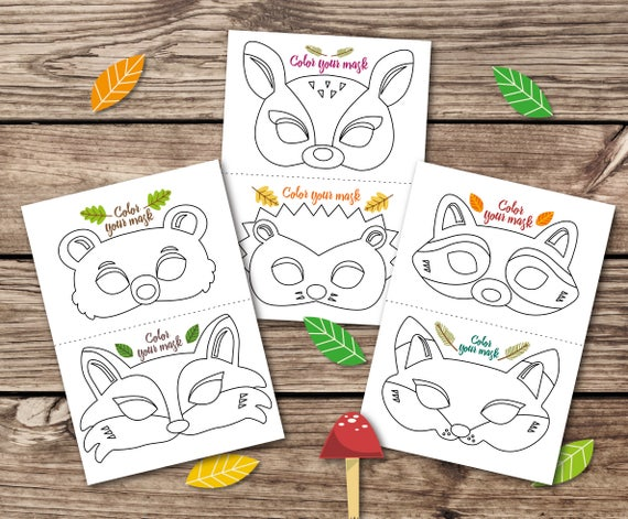 Coloring masks animal masks kid party mask woodland party