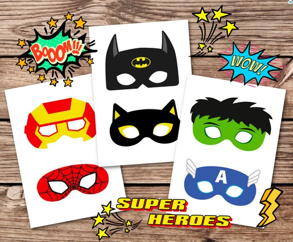 image about Printable Superheroes identified as Superhero Masks, superhero masks, hero masks, printable superhero, superhero bash, villain,hero gown,superheroes,electronic,Printable Masks
