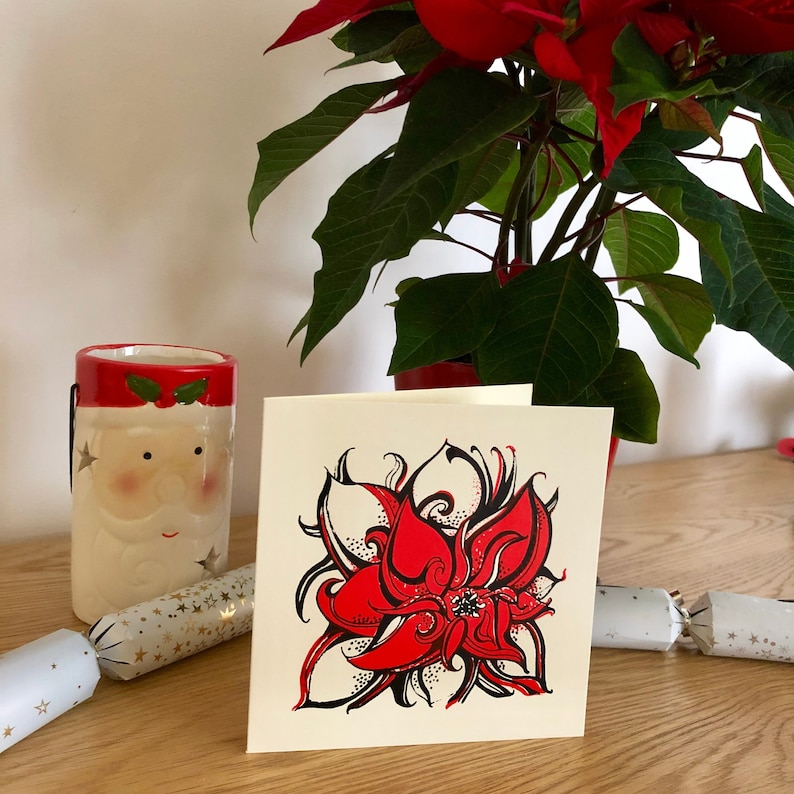 Red Poinsettia Flower Hand Screen Printed Christmas Greetings Etsy