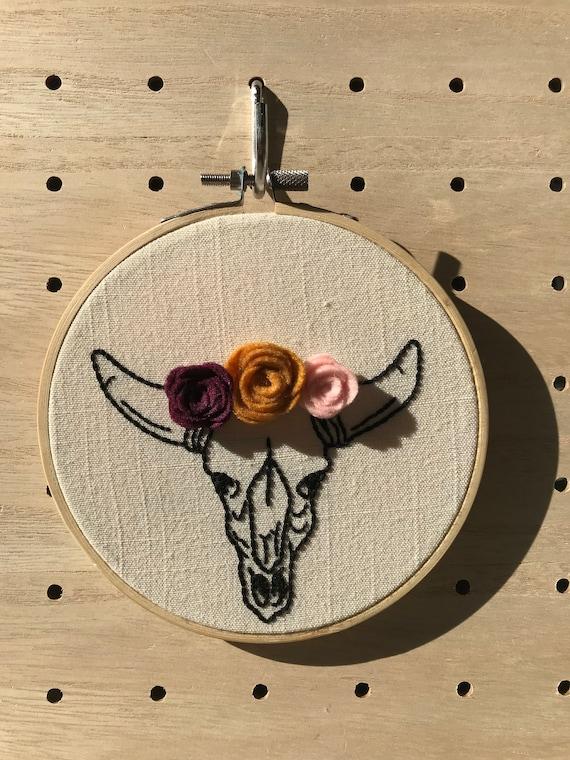 """Floral Deer Skull 5"""" Embroidery Hoop Art / Felt Flowers / Flower Crown /  Nursery Decor / Wall Hanging"""