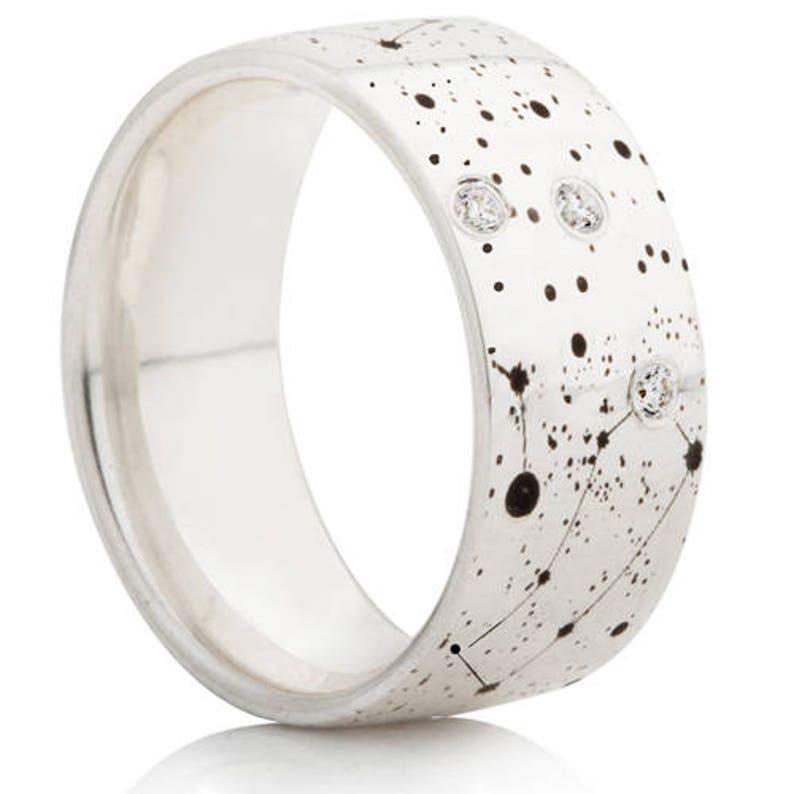 Diamond Set Universe Design Laser Engraved Ring
