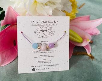 Amethyst Rose Quartz Aquamarine and 14k Gold w/ Linen Choker Gemstone Bracelet Healing Crystal Cord Jewellery Bridal Shower Gifts