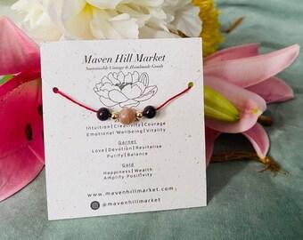 Garnet Sunstone and 14k Gold w/ Linen Choker Gemstone Bracelet Healing Crystal Cord Jewellery Bridal Shower Gifts