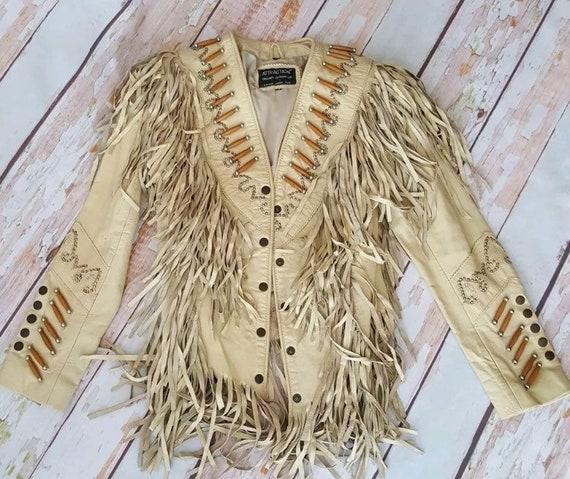 Vintage Fringe Native American Western Leather Jac