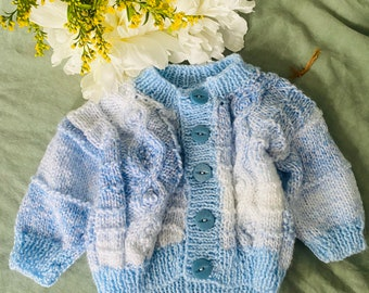 Vintage Baby Crochet Cardigan Baby Blue Knitted Jumper Clothing Romper Onesie Sweater Girl Baby Clothing Baby Shower Gift