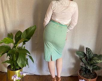 Vintage Green Gingham Pencil Skirt Green Chequered Skirt Figure Flattering Summer Skirt 70s Fashion Kentucky Derby Dress Size Small UK10