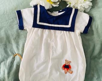 Vintage Sailor Teddy Bear Baby Clothing Blue & White Romper Onesie Bodysuit Unisex Baby Clothing Baby Shower Gift