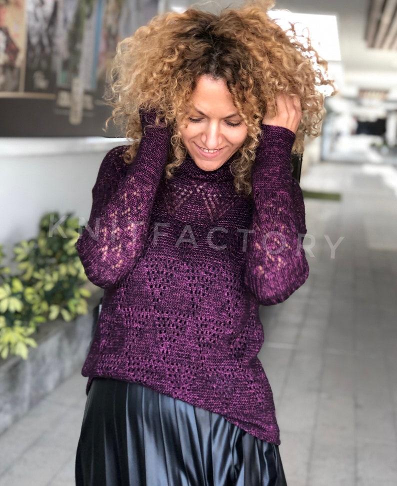 e859721583ef62 Lace sweater hand knit turtleneck sweater womens sweater | Etsy