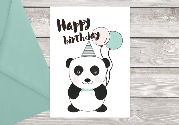 Printable Panda Bear Birthday Card For Kids Ready To Print