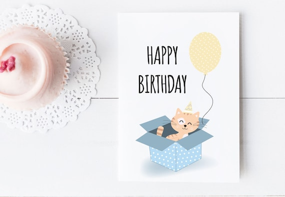 Printable Birthday Postcard Card For Cat Lovers