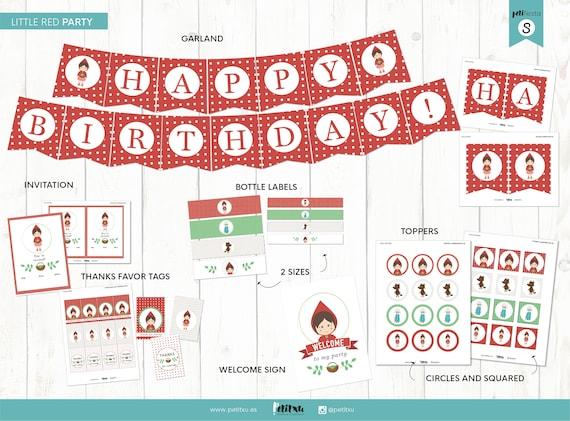 Fiesta Temática Caperucita Roja Kit Imprimible Cumpleaños Caperucita Roja Imprimibles Para Mesa Dulce Decoración Fiesta Niña En Rojo