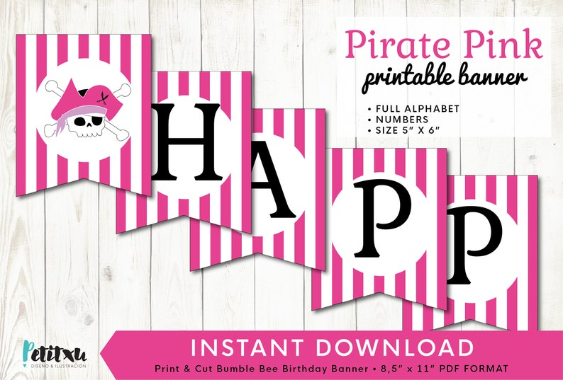 image about Pirate Party Printable called Printable Pirate Celebration Banner, Alphabet Quantities, Prompt Down load, Red Pirate Get together Printables, Pirate Female Get together, crimson and white banner