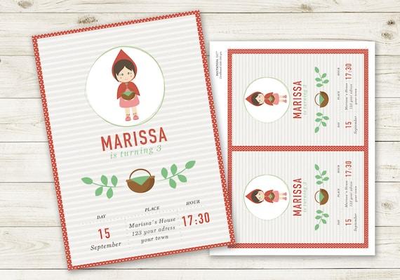 Invitación De Cumpleaños Personalizable De Caperucita Roja Invitación Imprimible En Color Rojo Cumpleaños Caperucita Roja Invitación