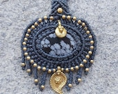 Snowflake Obsidian Macrame Necklace