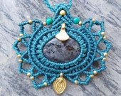 Larvikite Mandala Macrame Necklace