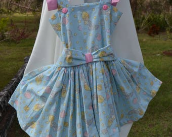 Beautiful Precious moments dress, light blue and pink