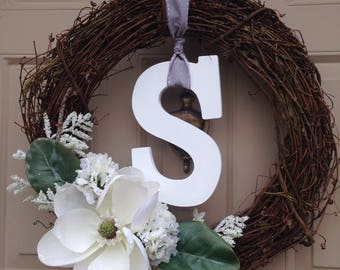 White and Neutral Monogram Wreath