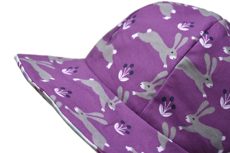 mother and daughter accessories Reversible babychild adult Sun hat with rabbit and woodland design