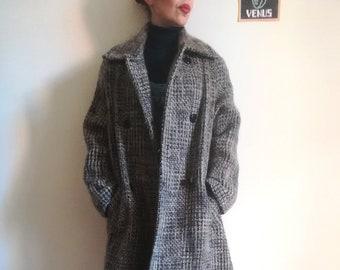 CAPPOTTO di TWEED NUVOLA Vintage 90 donna cappotto Made in Italy lana Tweed  cappotto Sandy grigio tortora sz. 46 5deac7546d8e